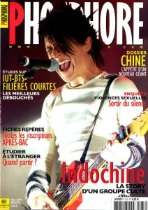 Indochine en couverture du magazine Phosphore