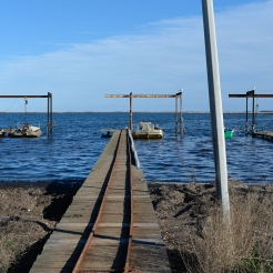Barque et ponton sur l'Étang de Thau