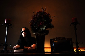 Portrait de Joey Jordison batteur du groupe Slipknot