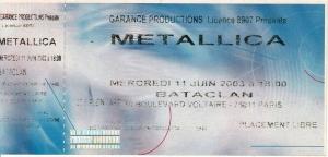 Ticket de concert Metallica